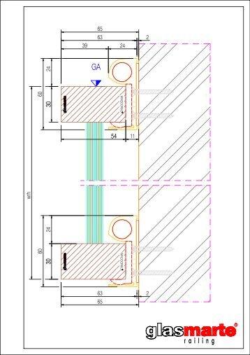 GM WINOORAIL Profil eckig 54/30 - Detailzeichnung