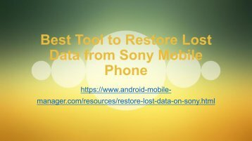 Best Tool to Recover Lost Data on Sony Mobile Phone