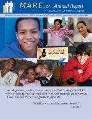 MAREInc. Annual Report - Massachusetts Adoption Resource ...