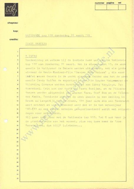 19910328 Draaiboek Nationale hitparade top 100 28 maart 1991 (tekst Martijn Krabbe) (09)