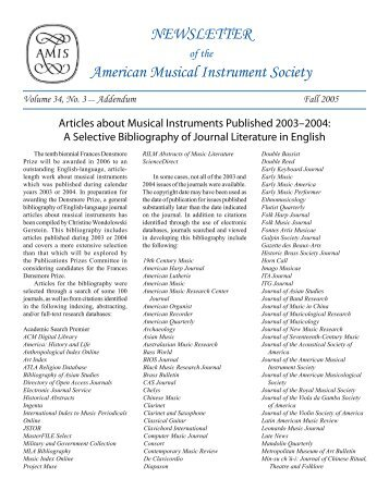 NEWSLETTER of the American Musical Instrument Society Volume ...