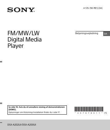 Sony DSX-A202UI - DSX-A202UI Consignes d'utilisation Danois