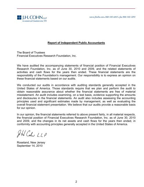 Fiscal Year 2010 - Financial Executives International
