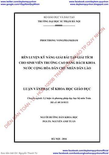 Rèn luyện kỹ năng giải bài tập giải tích cho SV trường CĐBK Nước Cộng hòa Dân chủ Nhân dân Lào