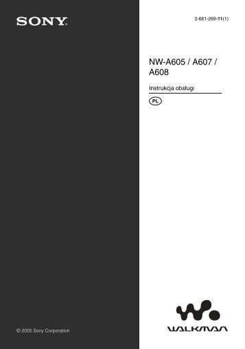 Sony NW-A608 - NW-A608 Consignes d'utilisation Polonais