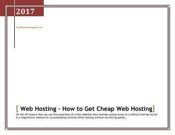 Web Hosting - How to Get Cheap Web Hosting