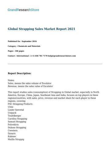Global Strapping Sales Market Report 2021