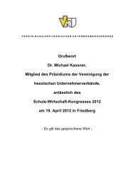 Grußwort Dr. Michael Kassner, Mitglied des Präsidiums der ...
