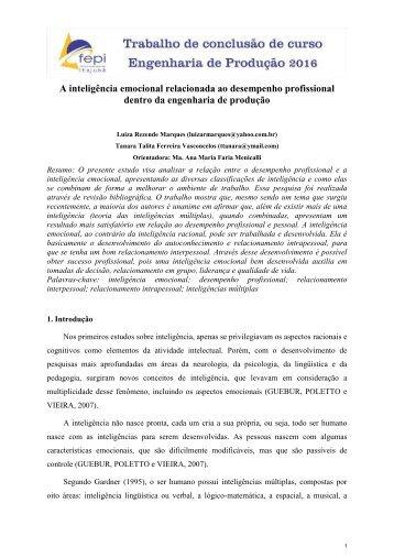 A inteligência emocional relacionada ao desempenho profissional dentro da engenharia de produção