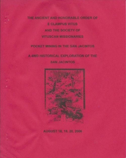 "6011/2006 Summer Vituscan \""Pocket Mining in the San Jacintos\"""