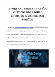 Things To Consider While Choosing A Web Design Service