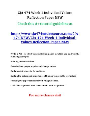 individual assignment ethics reflection paper