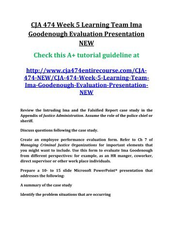 cja 474 week 5 team assignment ima goodenough evaluation, Powerpoint templates