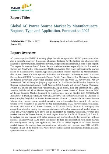 Global AC Power Source Market by Manufacturers, Regions, Type and Application, Forecast to 2021