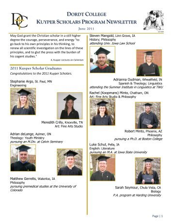 DORDT COLLEGE KUYPER SCHOLARS PROGRAM NEWSLETTER
