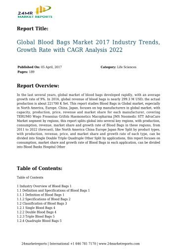 Global Blood Bags Market 2017 Industry Trends, Growth Rate with CAGR Analysis 2022