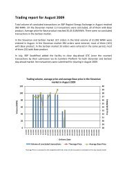 Trading report August 2009