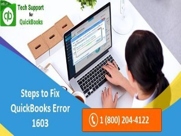 How to Troubleshoot QuickBooks Error 1603? Call 18002044122