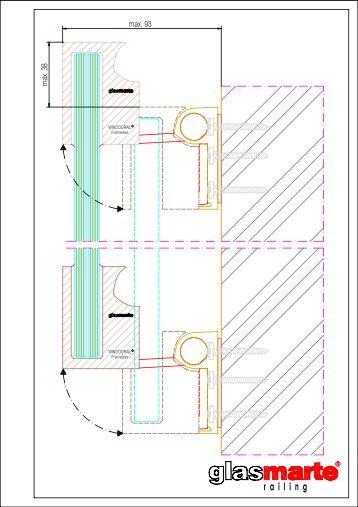 GM WINDOORAIL Frameless ausgeschwenkt - Detailzeichnung