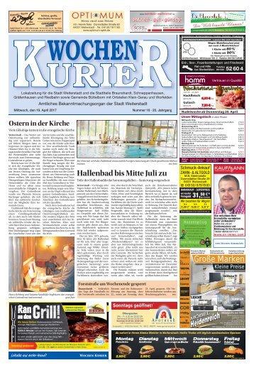 Wochen-Kurier 16/2017 - Lokalzeitung für Weiterstadt und Büttelborn