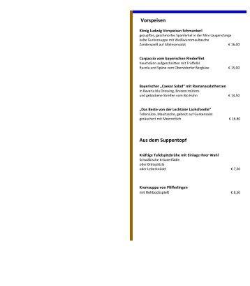 Sonnenhof - König Ludwig Lounge - Karte Juli 2017
