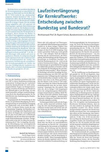 Entscheidung zwischen Bundestag und Bundesrat? - Kernenergie.de