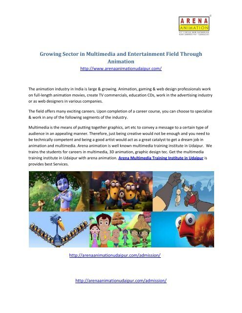 Growing Sector In Multimedia And Entertainment Field Through Animation