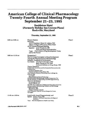 American College of Clinical Pharmacology Twenty-Fourth Annual ...