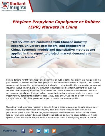 Ethylene Propylene Copolymer in China Market Size and Forecast 2016 - 2021