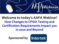 Webinar: How Changes to CPSIA Testing and Certification