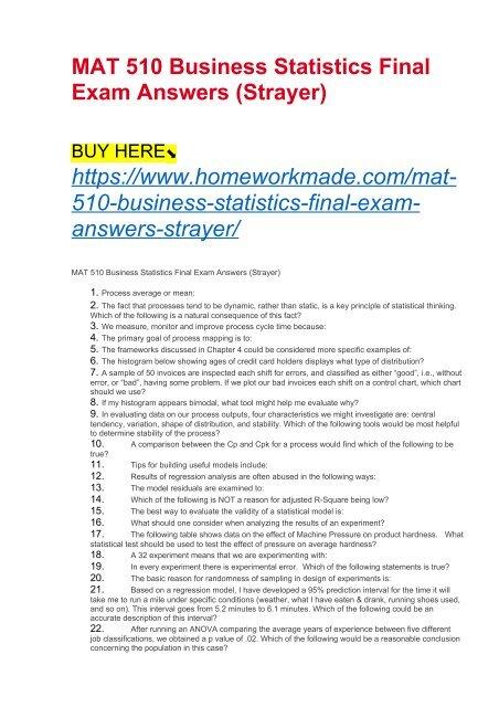 MAT 510 Business Statistics Final Exam Answers (Strayer)