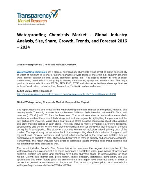 Waterproofing Chemicals Market Size Share Price Demand And Forecast 2016 2024