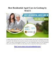 Best Residential Aged Care in Geelong by MACS