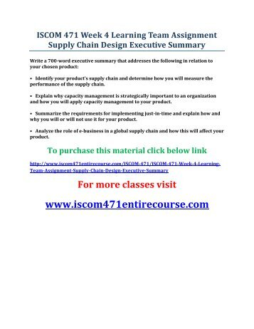 2 supply chain design executive summary
