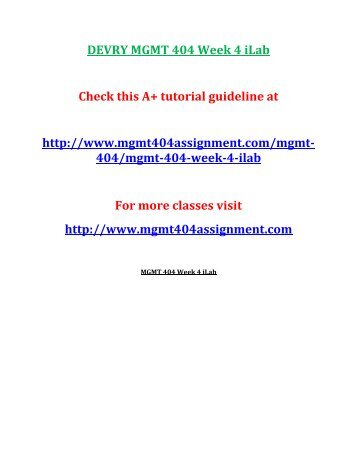 mgmt 404 devry Free essay: devry mgmt 404 all weeks courses project (week 2 to 8) if you want to purchase a+ work then click the link below , instant download.