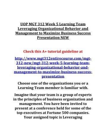 UOP MGT 312 Week 5 Learning Team Leveraging Organizational