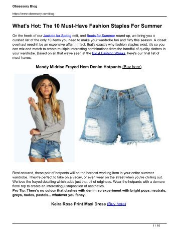 What's Hot: The 10 Must-Have Fashion Staples For Summer