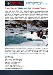 Frozen River Trek Ladakh – Chadar Route Trek