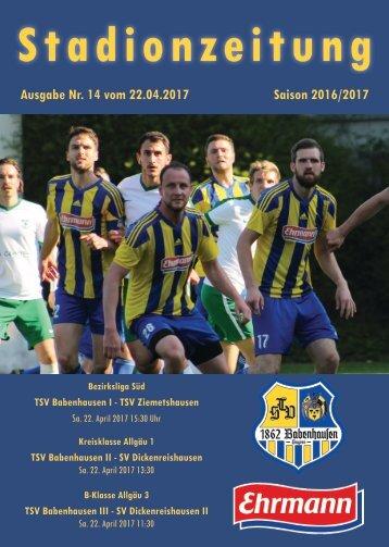 20170422 Stadionzeitung TSV Babenhausen - TSV Ziemetshausen
