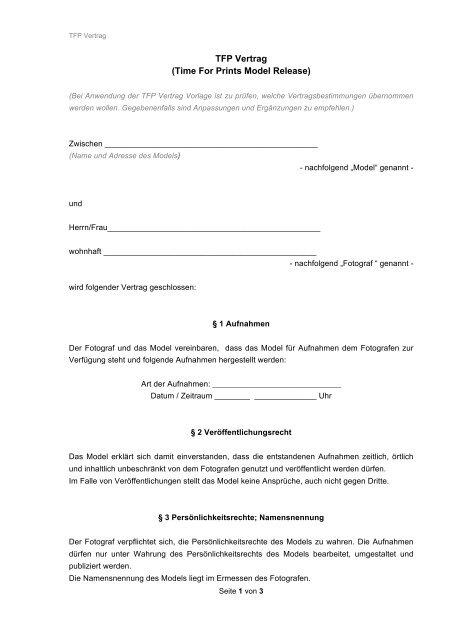 Fotomodelvertrag Vorlage Zum Download