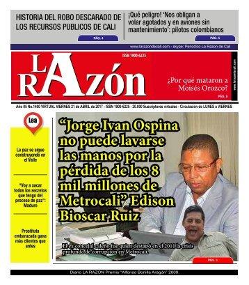 Diario La Razón viernes 21 de abril de 2017