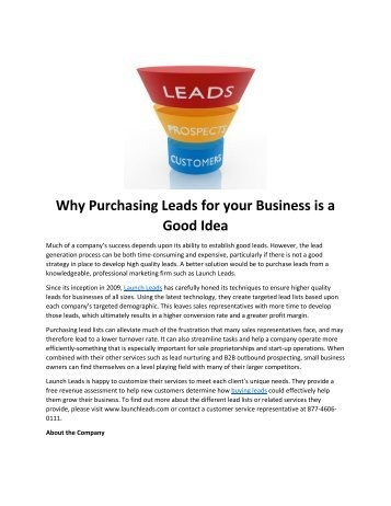 Why Purchasing Leads for your Business is a Good Idea