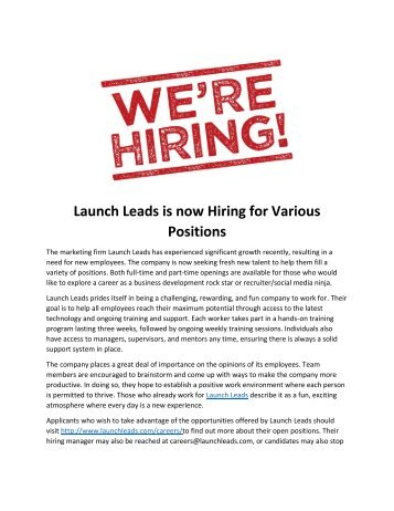 Launch Leads is now Hiring for Various Positions