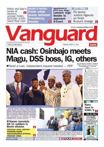 21042017 - NIA cash: Osinbajo meets Magu, DSS boss, IG, others
