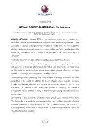 Press Release the sportsman - Bundesliga Tender North America