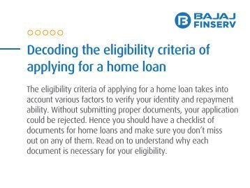 Decoding the Eligibility Criteria of Applying for a Home Loan
