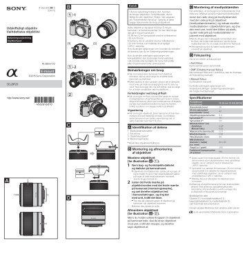 Sony SEL28F20UWC - SEL28F20UWC Istruzioni per l'uso Danese