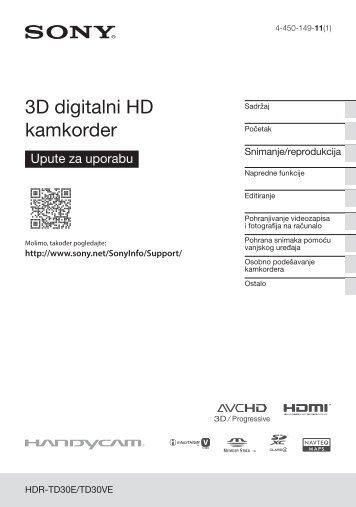 Sony HDR-TD30VE - HDR-TD30VE Istruzioni per l'uso Croato