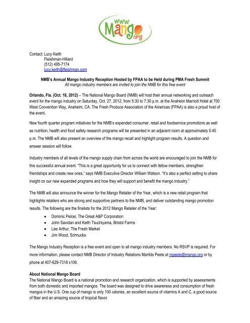 Contact: Lucy Keith Fleishman-Hillard - National Mango Board