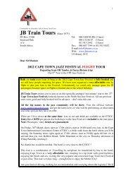 2012 cape town jazz festival flight tour - JB Train Tours